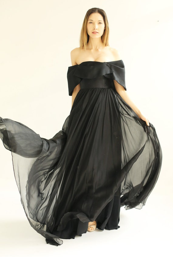 sample SALE long black silk chiffon evening gown