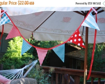 "ENTIRE Store On SALE The ""Patriotic"" Bunting. 4th of July Banner, Fabric Pennant Flags, Med. Flags in Red, White & Blue, Designer's Choice P"
