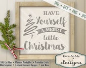 Christmas SVG Cut File - Merry Little Christmas Cut File - Christmas Greeting SVG Cut File - Commercial Use OK - svg, dfx, png and jpg files
