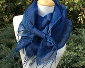 HAND DYED Square SCARF with Indigo on  Cotton Silk