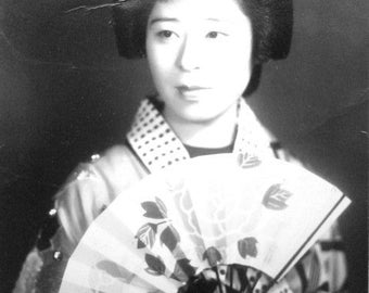 Japanese Photo - Vintage Print -  Photograph - Photography - Actress In Kimono Dress and Dance Fan - Black and White Picture