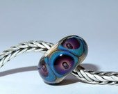 Luccicare Lampwork Bead - Bubbles -  Lined with Sterling Silver