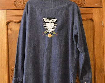 "Owl shirt by Bordados Mary Vi  , Mexico, Embroidered Blue Jean Denim,Size 40"" to 44"" Shirt Excellent Condition, Unisex Vintage 1970's"