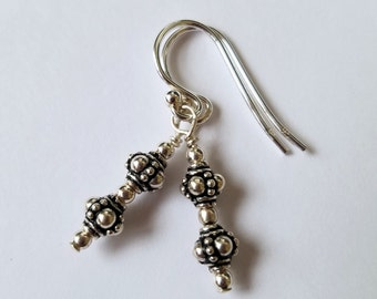 Sterling Silver Simple Small Bali Round Bead French Ear Wire Earrings - FREE SHIPPING Clearance SALE
