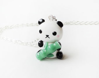 Cute Baby Panda Holding Bamboo Necklace