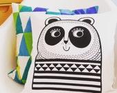 Screen Printed Happy Panda Cushion by Jane Foster - Scandi retro design