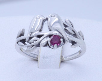 Sterling Silver 925 love birds ring with birthstone (any size any month)