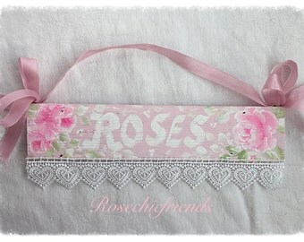 ROSES Plaque Sign Shabby Chic Hand Painted Pink Roses ECS sct schteam SVFTeam