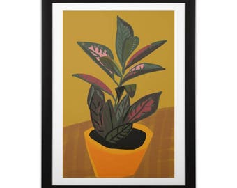 Botanical Still Life Abstract Croton Plant 1 Print on Paper or Canvas