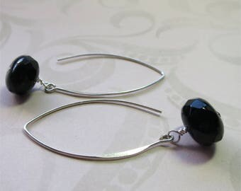 Black beaded earrings faceted czech glass beads on long sterling silver earwires
