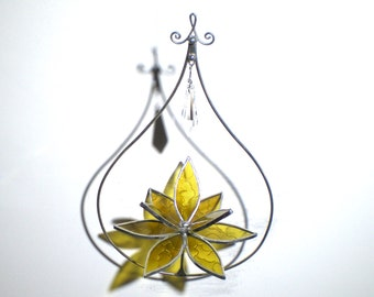 Happy - 3D Stained Glass Lotus Spinner - Small Yellow Spinning Flower Suncatcher Ornament Home Decor Wire Crystal Prisms (READY TO SHIP)