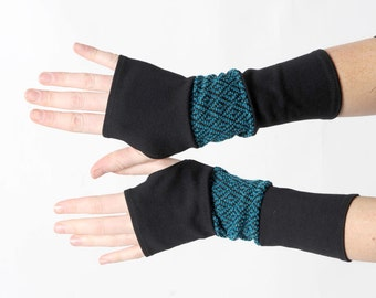 Black and teal blue armwarmers, Black patchwork gloves, Jersey and knit fingerless gloves, Black patchwork wrist warmers, MALAM