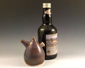 Ceramic Cruet - Oil Vinegar or Soy Server - Spouted Stoneware Pourer - Store and Serve - Iron Lustre - Green Brown Red - Ready to Ship  s510