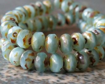 Pale Aqua Opal Picasso Czech Glass Beads 5x3mm Faceted Rondelle : 30 pc Full Strand Blue Czech Bead