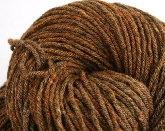 Hand Dyed Aran weight mini Empire Rambouillet Wool 213 yds 4oz Pumpkin