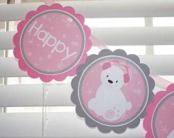 POLAR BEAR Birthday Banner / Bear Birthday Banner / Polar Bear Birthday Party / Polar Bear Birthday Party / Polar Bear Baby Shower / Winter
