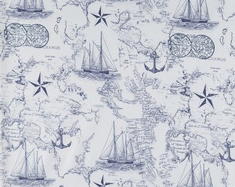 BLUE WHITE MAP Fabric,  Yardage Fabric by the half or full yard,  nautical, quilting fabric, apparel fabric,  cotton