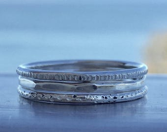 Size 5.5. Stacking ring trio of stamped and hammered sterling silver rings.  - SayLaVee