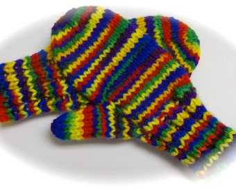 Mittens, Children, Hand Knit, Bright Multicolor, 3 to 4 years