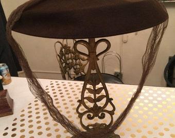Fall sale 1940s hat brown hat wool hat 40s hat vintage hat platter hat cartwheel hat picture hat
