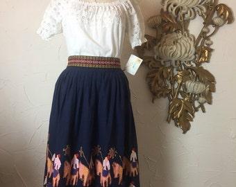 Fall sale 1970s skirt hippie skirt novelty print skirt size medium vintage skirt bohemian skirt ethnic skirt