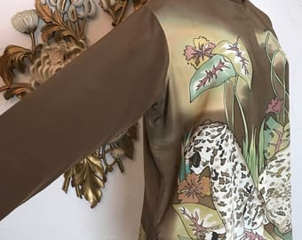 Vintage blouse silk blouse novelty print blouse size large brown blouse leopard blouse hand dyed shirt tiger shirt 38 bust