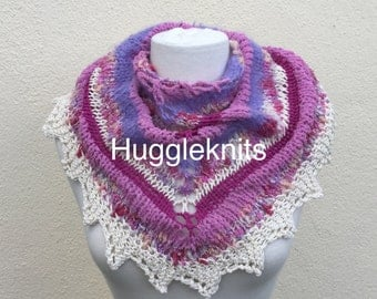 Luxurious wrap/shawlette in shades of Raspberries and Cream