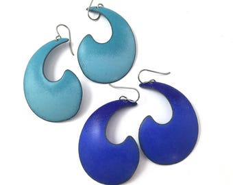 Cobalt Blue Large Swirl Matte Enamel Earrings with Titanium Earwires