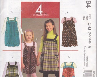 McCalls 5694 Girls Jumpers with Button Shoulder Straps Sewing Pattern Sizes 7-14 Out of Print UNCUT