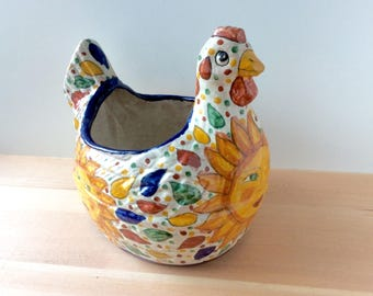 "Talavera Mexican Pottery Chicken Planter. LARGE Vintage Folk Art Garden Pot, Red Clay, Hand Painted Sun. 11"" x 10.5"""