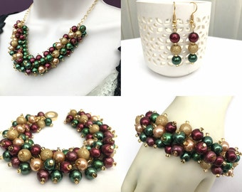 Tartan Theme Jewelry Set, Forest Green Red Wine and Gold, Pearl Necklace Bracelet Earrings, Cluster Jewelry, Wedding Sets, Bridesmaids Gift