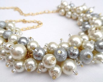 Ivory Pearl Necklace, Wedding Jewelry, Ivory and Silver Gray Pearl Chunky Beaded Necklace, Bridal, Bridesmaid Gift, Ivory Cluster Necklace