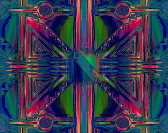 Artist Textile Kaleidoscope Blue Green Canvas Upholstery Fabric Fiber Art Decor Pillow Cushion