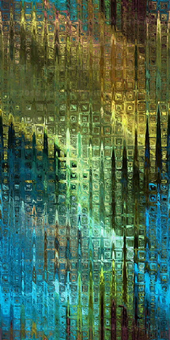 Hand Created Artisan Crepe de Chine Fabric Fiber Art Abstract Plaid Apparel Sheer Home Decor