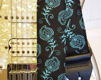teal paisley on black guitar strap