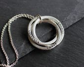 Linked Rings Name Necklace; Sterling Silver Interlocking Rings Necklace; Handstamped