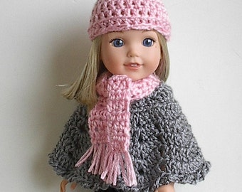 "14.5"" Doll Gray Crocheted Poncho w/ Light Pink Hat and Scarf Set Handmade to fit Wellie Wishers and other similar 14"" dolls"