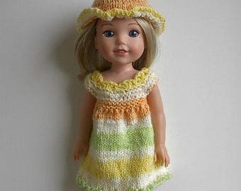 "14.5"" Doll Clothes Hand Knit Dress and Hat Handmade to fit Wellie Wishers - Yellow Orange White Green Summer Dress and Hat"
