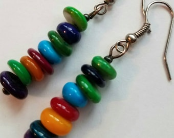 Handmade Stacked Multicolored Glass Bead Earrings silver