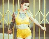 Yellow & White polka dot Retro Pin up High waist bikini Two piece swimsuit size xs-xl