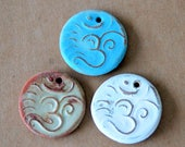 3 Ceramic beads - Om Pendants in Rustic glazes  - Handmade Jewelry Supplies - Ancient Namaste symbol for Meditation and Serenity -