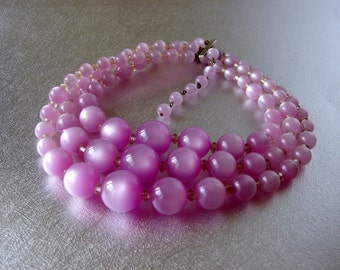 """Pink Moonglow Beaded Necklace Large 3/4 inch Beads Multi Strand Choker to 16"""" 3 Strands Vintage Plastic Acrylic Orchid Yarrow Purple Pantone"""
