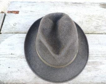 Vintage 1930/1940 Borsalino Fedora grey felt hat  size 7 1/8
