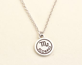 Silver Scorpio Necklace - Personalized Zodiac Necklace - Scorpio Zodiac Jewelry - Birthday Gift -  Astrology Pendant - Gift For Daughter