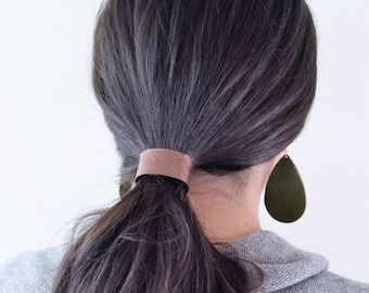 NEW Leather Hair Cuff Ponytail Holder in Metalic Bronze size 4 3/4 inches