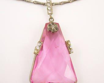 Art Deco Czech Pink Stoned Necklace