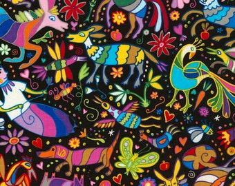 Timeless Treasures, Mexican Joy, Mixed Colorful Animals on Black , 1 yard