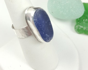 Sea Glass Ring Cobalt Blue Sea Glass Jewelry Sea Glass Ring Cobalt Blue Sea Glass Ring Cobalt Blue Beach Glass Ring Size 8 1/2 - R-122
