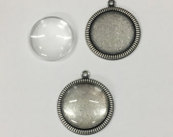 Pendant Bezel - 12 Silver Ox (oxidized) Round Rope Edge 18mm Bezel Setting Pendant Blanks with Glass Cabochons