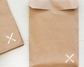kraft paper gift bag - fork and knife